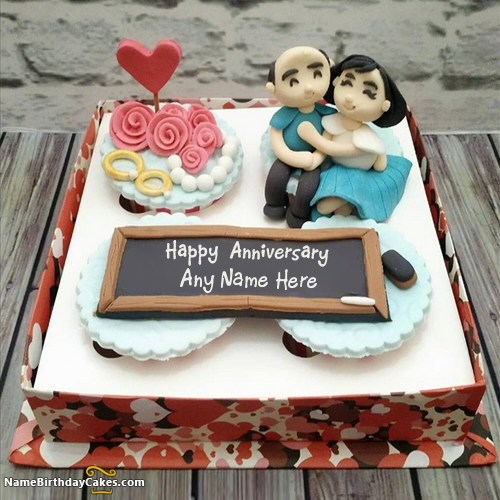 Write Name On Anniversary Cake With Photo Happy