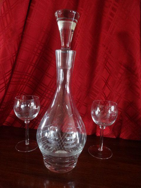 Krosno Polish Decanter & Glasses Wine Set Etched Sailing Ship Made in Poland by KatzsKorners on Etsy