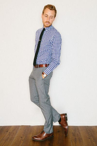 gingham shirt, skinny tue, brown dress shoes w/ matching ...