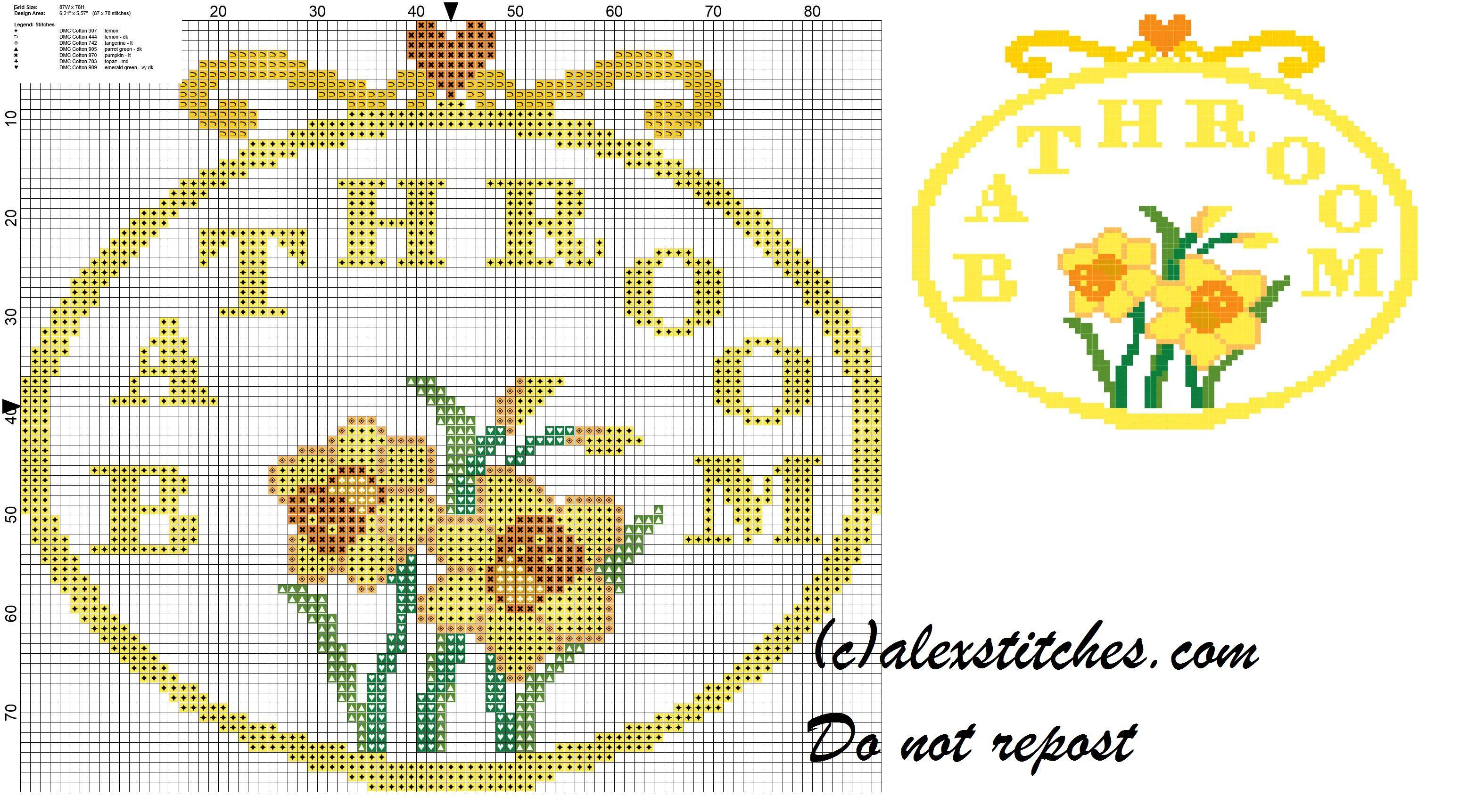 Bathroom With Daffodils Cross Sch Pattern