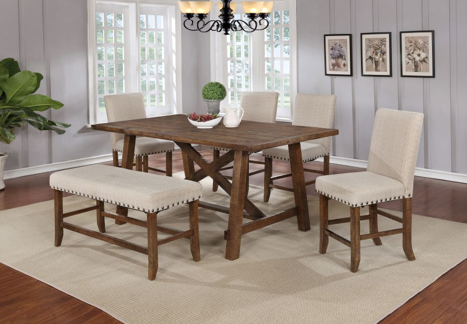 Yosemite Honey Walnut Wood Finish Its And Beige Colored Fabric Will Bring A Down To Earth Rustic Look Into Your Dining Room This Set