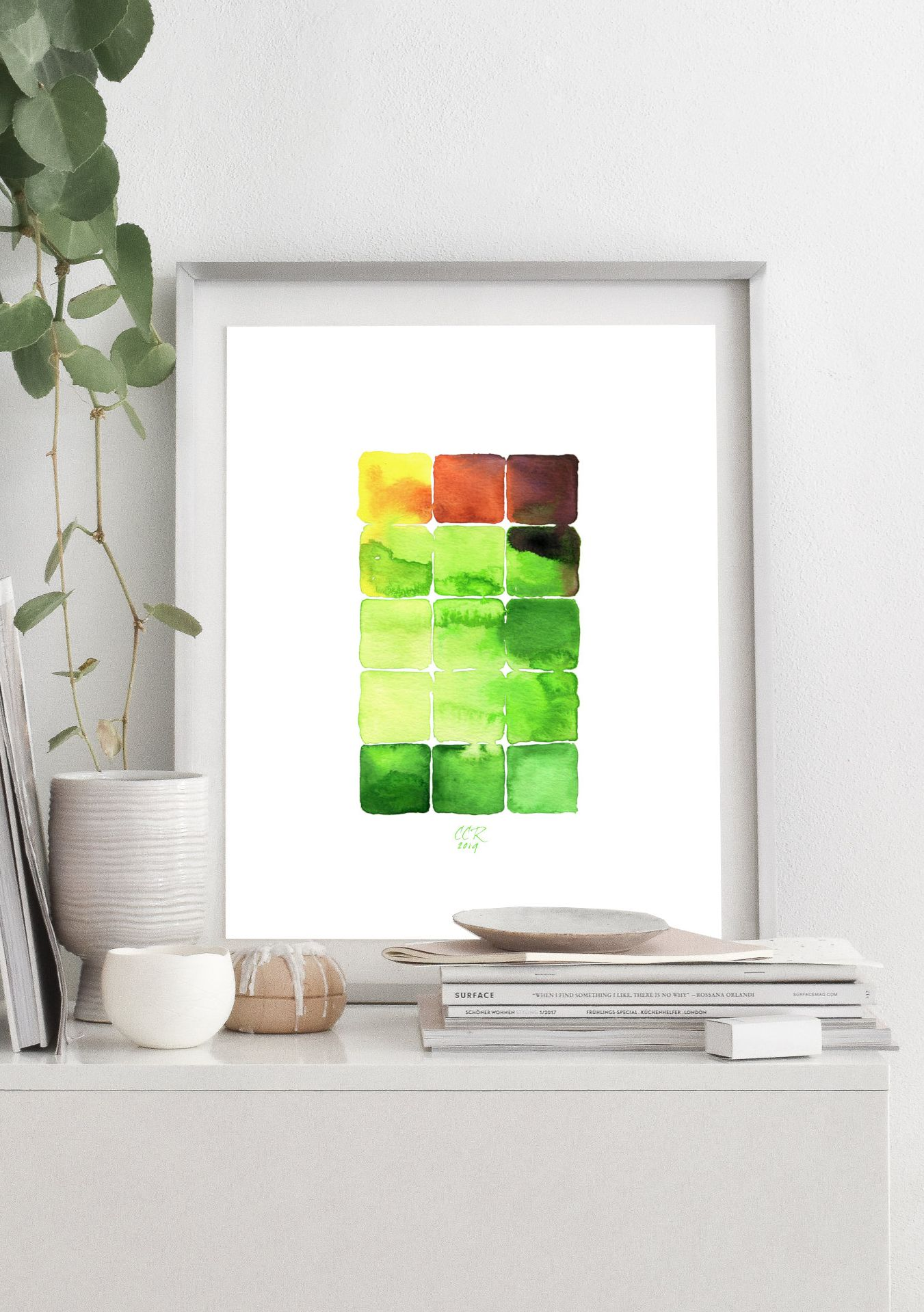 Geometric abstract art print from watercolor painting by