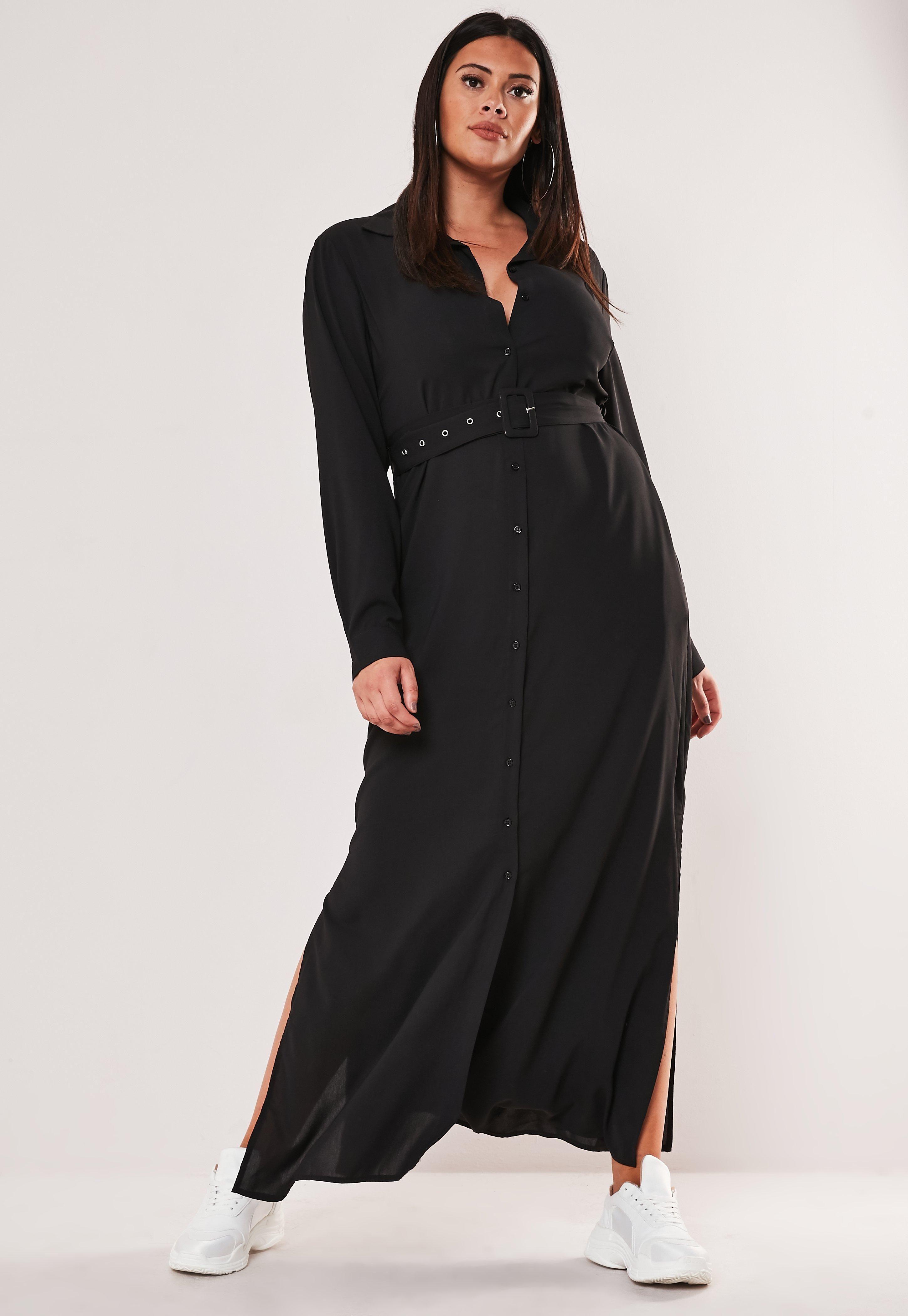 Plus Size Black Belted Maxi Shirt Dress #Sponsored #Belted, #ad ...