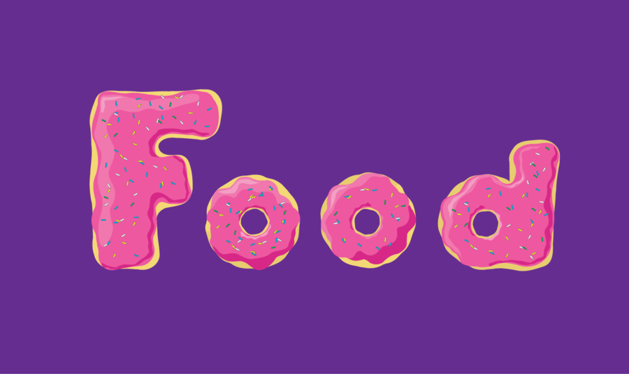 The word food made out of donuts typography pinterest for Cuisine words