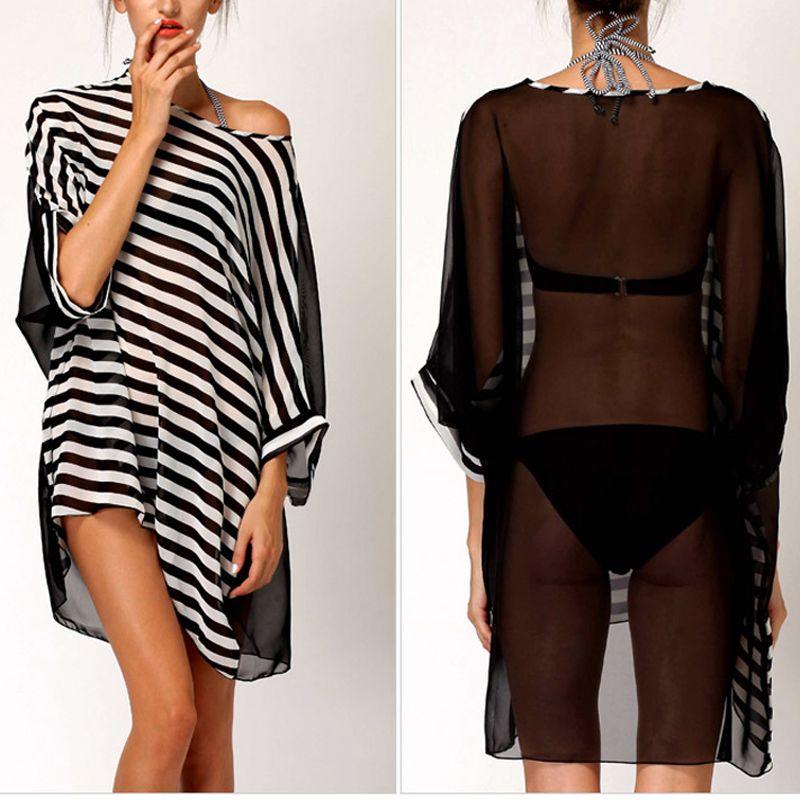 b1df1a8e9be Charming Round Neck Design Bikini Dress Transparent Stripe Swimwear Wrap  Women's Seaside Sleeves Sarong
