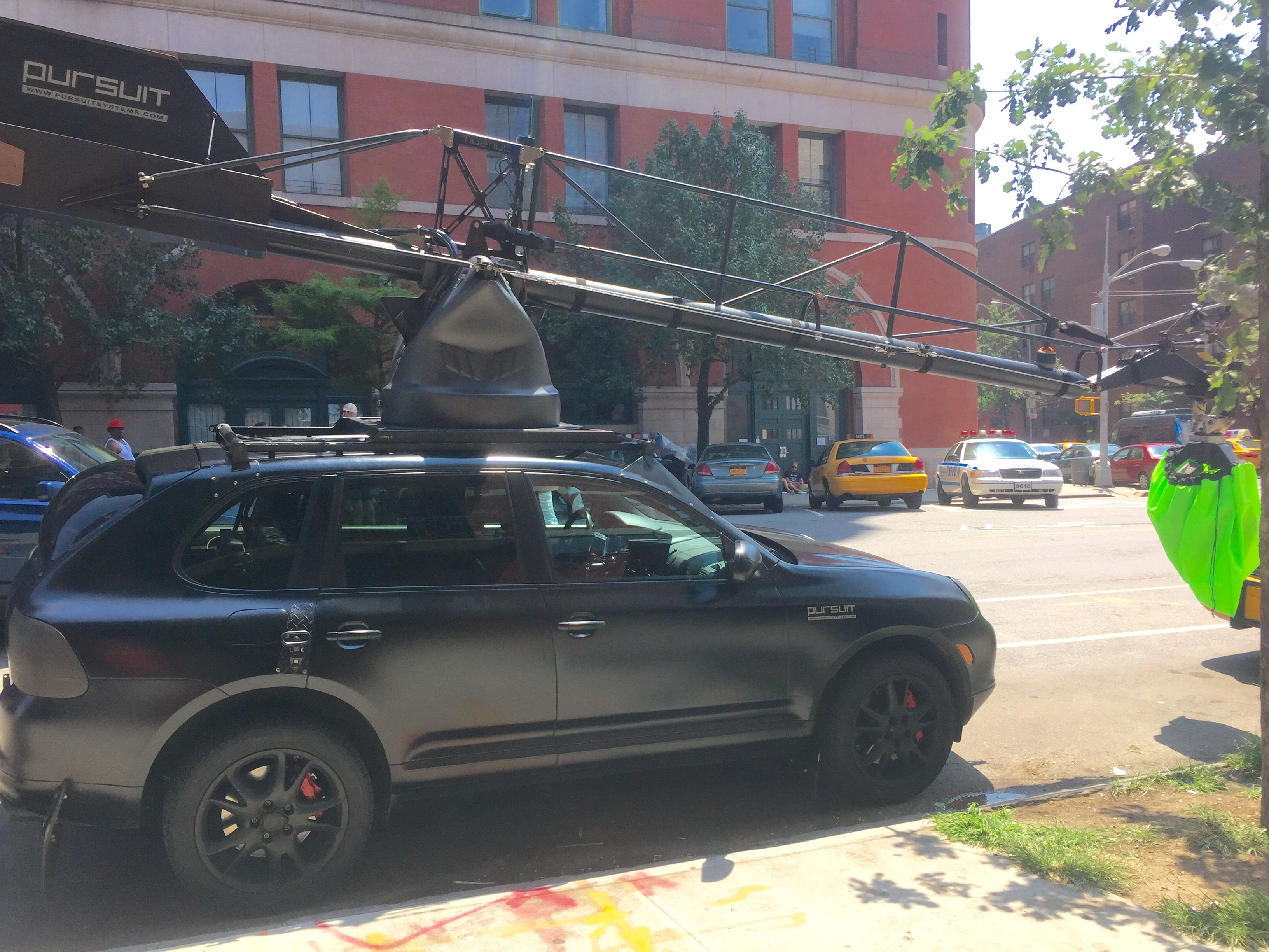 Porsche Cayenne used as a film car with a boom camera in SoHo NYC