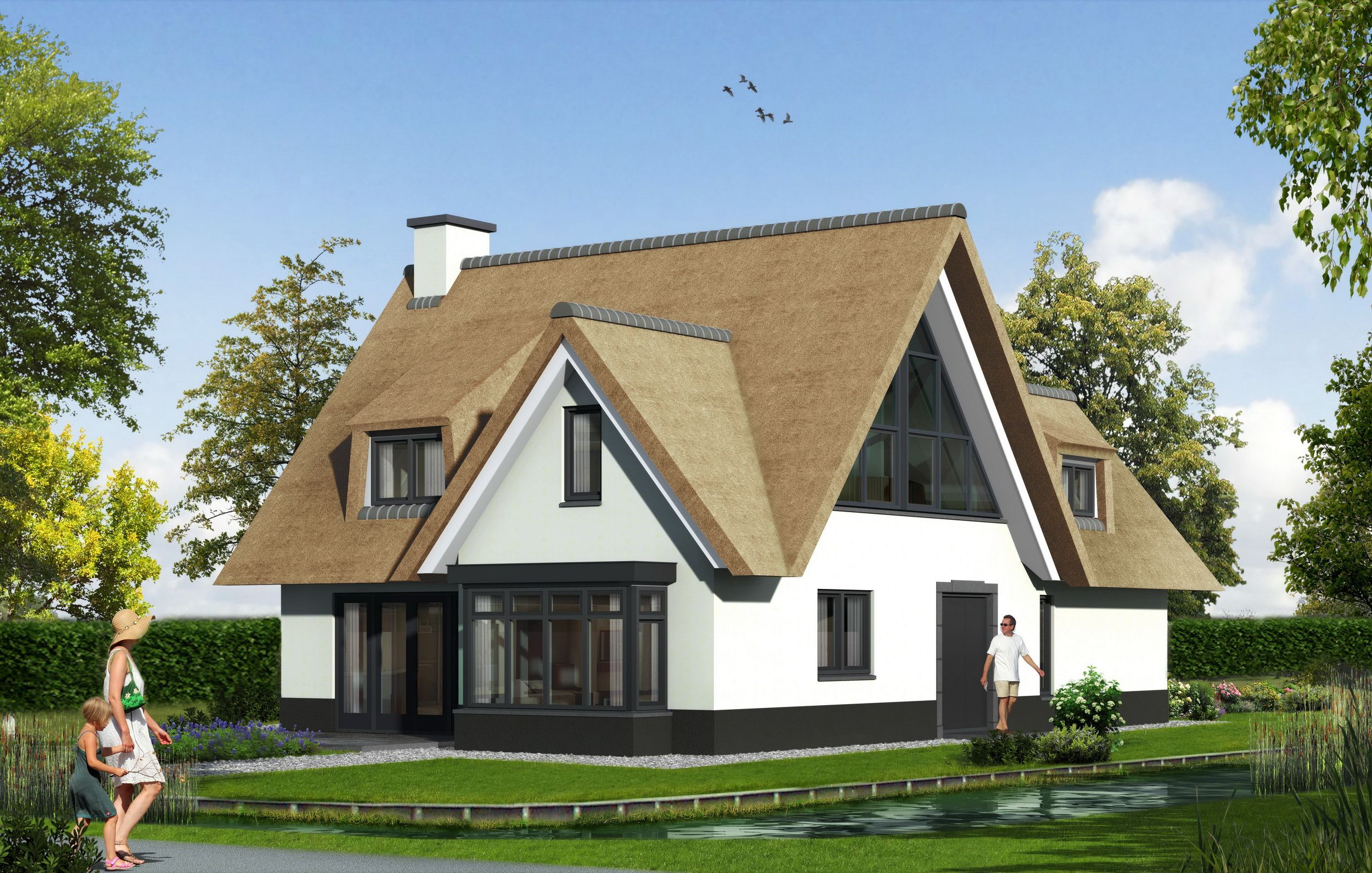 Landelijke woning riet wit gestuukt brand bba architecten huizen
