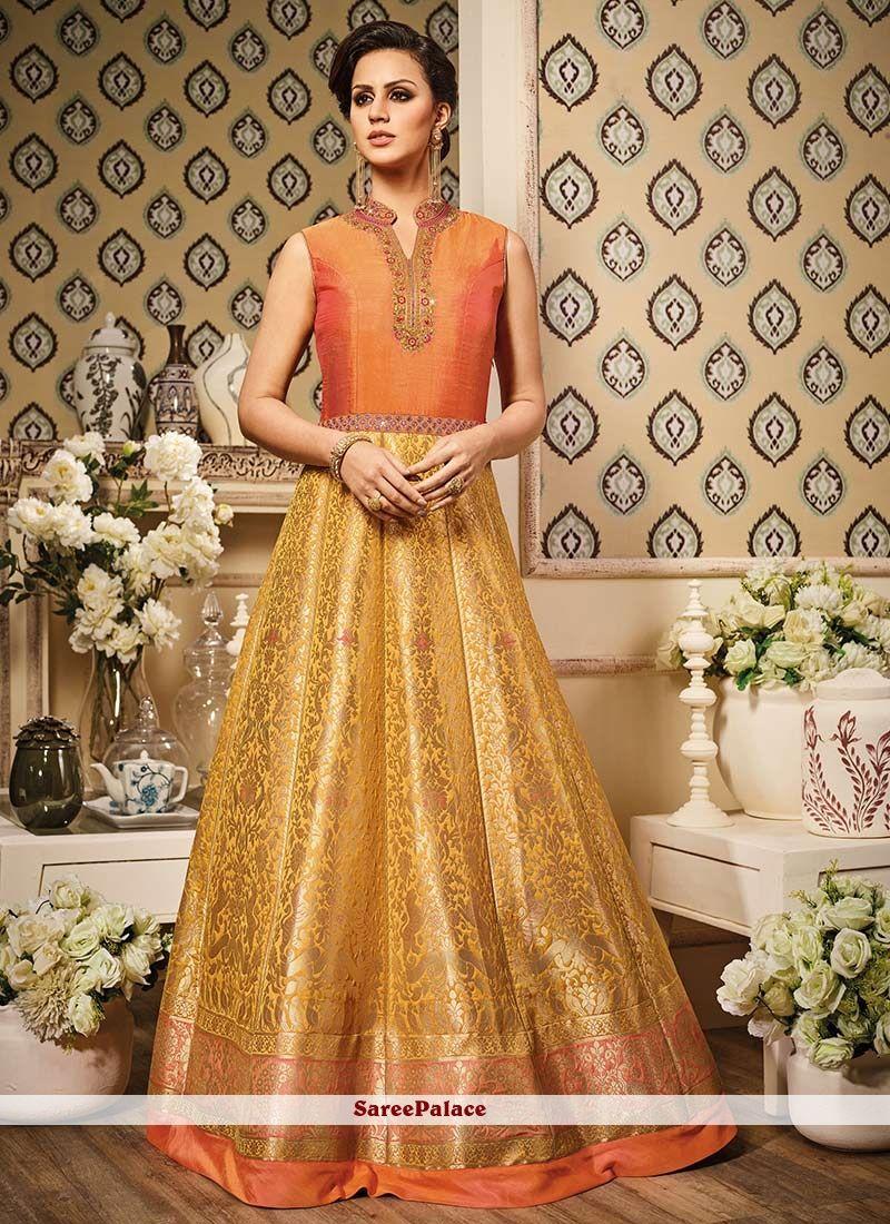 2da88982f0 Best Embroidered Work Banarasi Silk Floor Length Anarkali Suit in ...