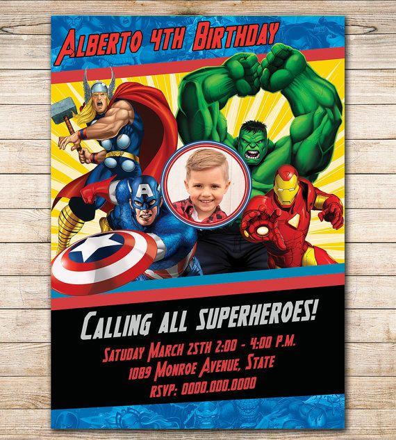 Comic Marvel Birthday Photo Invitation Avengers Printable