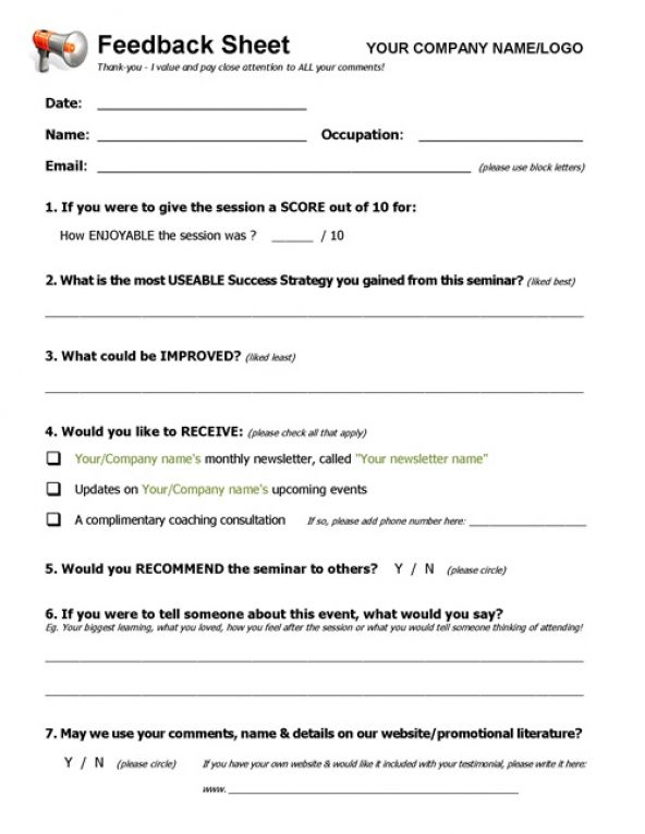Workshop, Event \ Seminar FEEDBACK Form - feedback forms sample