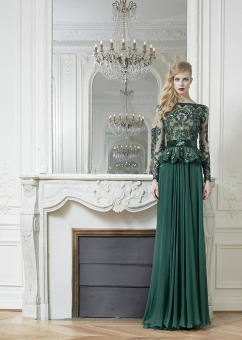 Long dark green dress  Vestidos de Fiesta Long  Free Shipping A Line Dark Green Chiffon