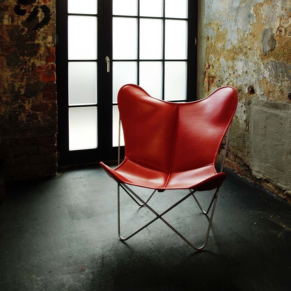 Hardoy Butterfly Chair Original #Lederrot #rotdesign #BKF #made in ...