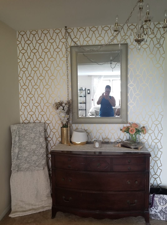 Walmart peel n stick repositionable wallpaper Bathroom