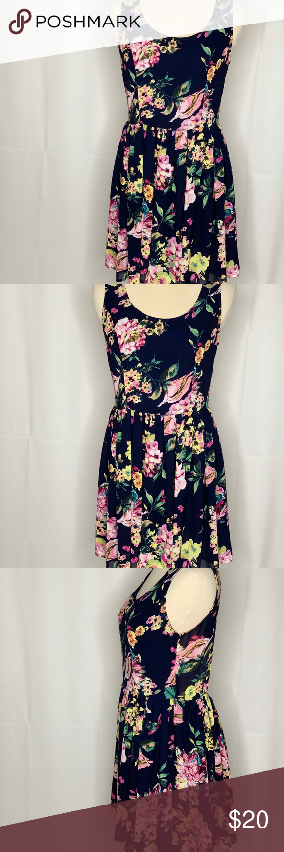 6b85be84bb6 Entro floral dress Entro Multicolor Floral Sleeveless Open Back Summer Dress  Womens Size Small entro Dresses Mini