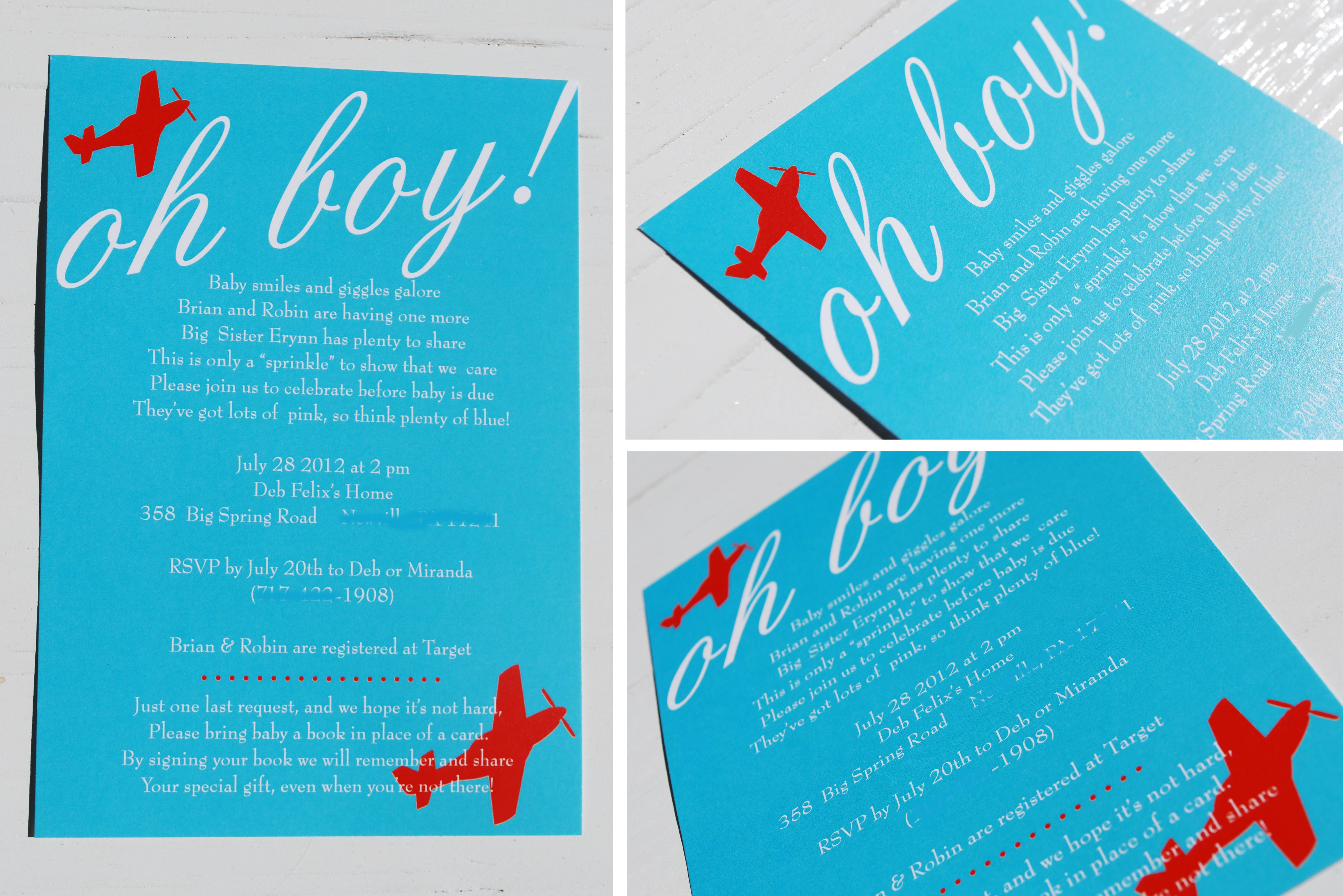 Airplane themed invites - we could do this one but change the baby ...