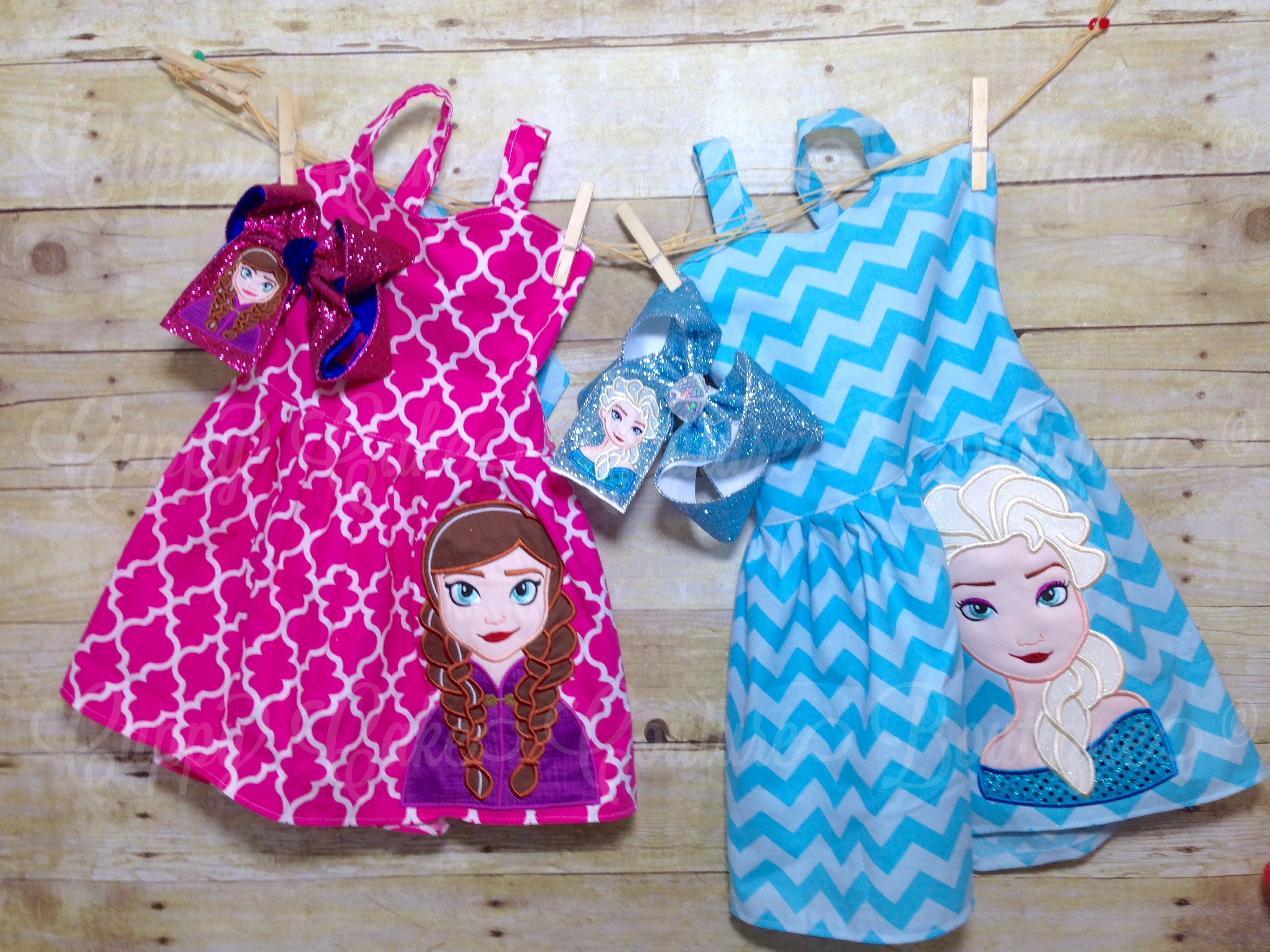 Anna and Elsa frozen inspired dresses with appliqué bows www ...