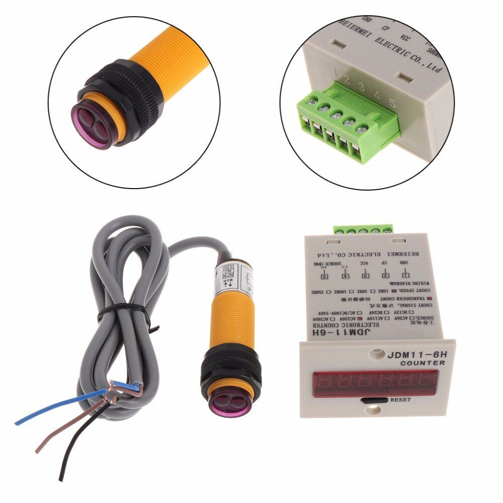100-240V AC Digital Red LED People Counter+Photoelectric Infrared Detector store