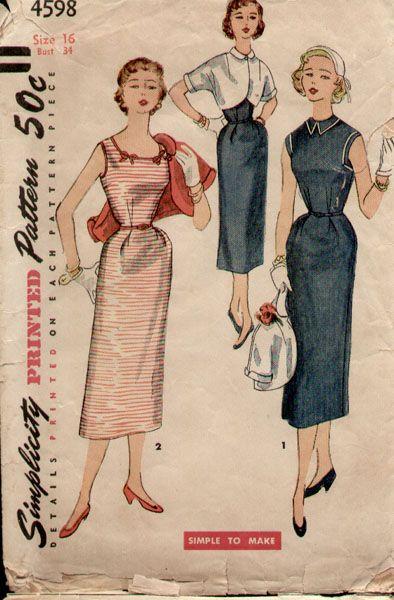 Simplicity 4598 A | 1950\'s dresses | Pinterest