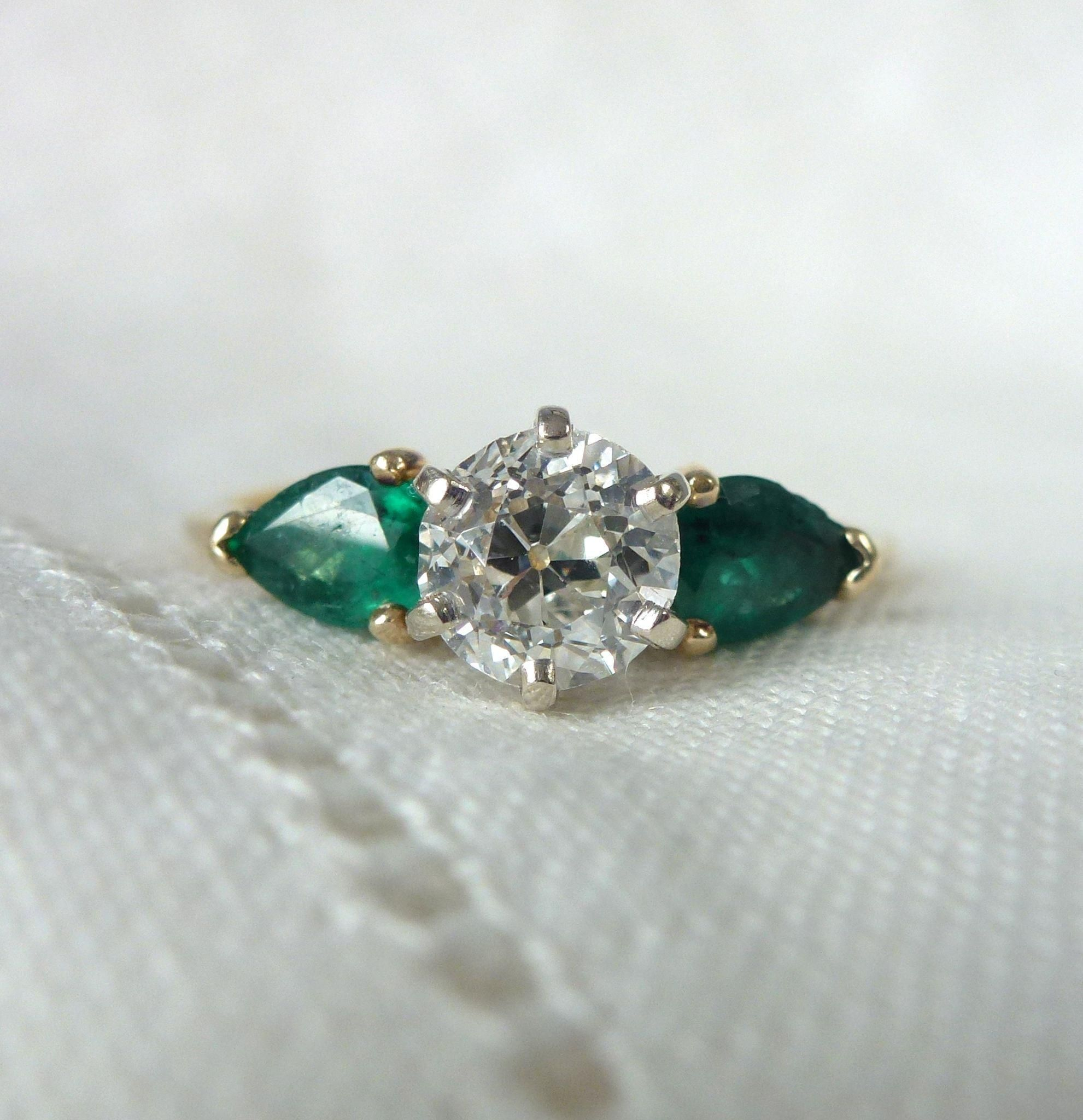 cut engagement diamond design pave halo sides ring o wedding emerald