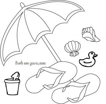 Free Print Out Beach Slippers And Umbrella Clip Art For Kids