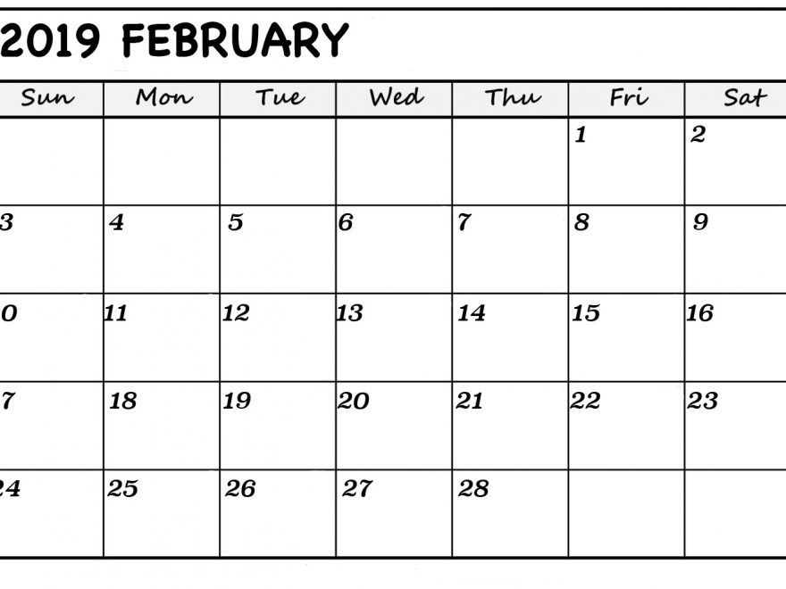 Free Printable February 2019 Calendar With Holidays With Images