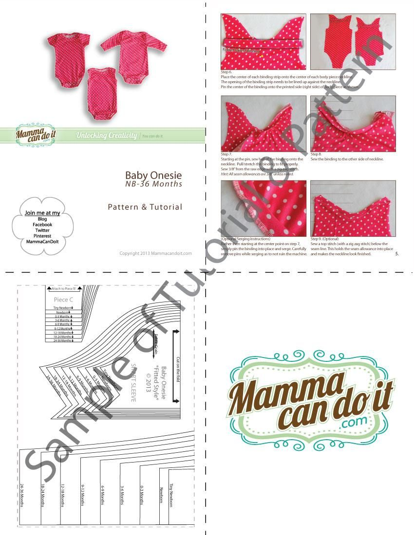 Onesie Sewing Pattern   NB-36 Months   Baby Clothes Patterns ...