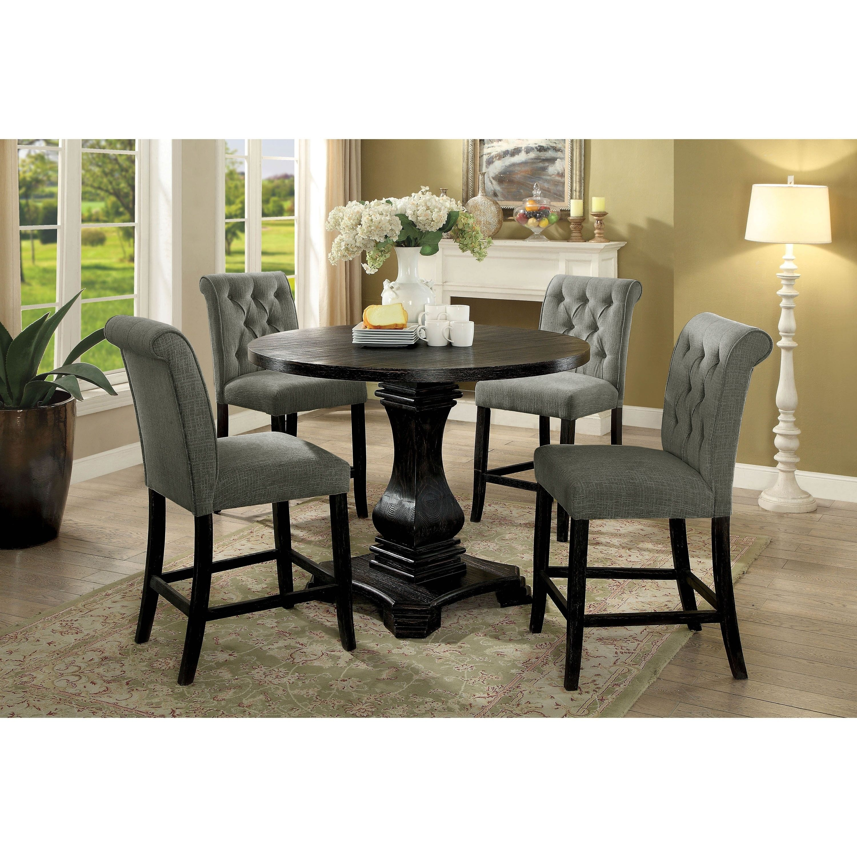 Furniture of America Melby Farmhouse Black 5Piece Counter