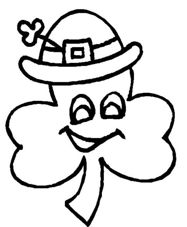 Four Leaf Clover A Wearing Irish Hat Coloring Page