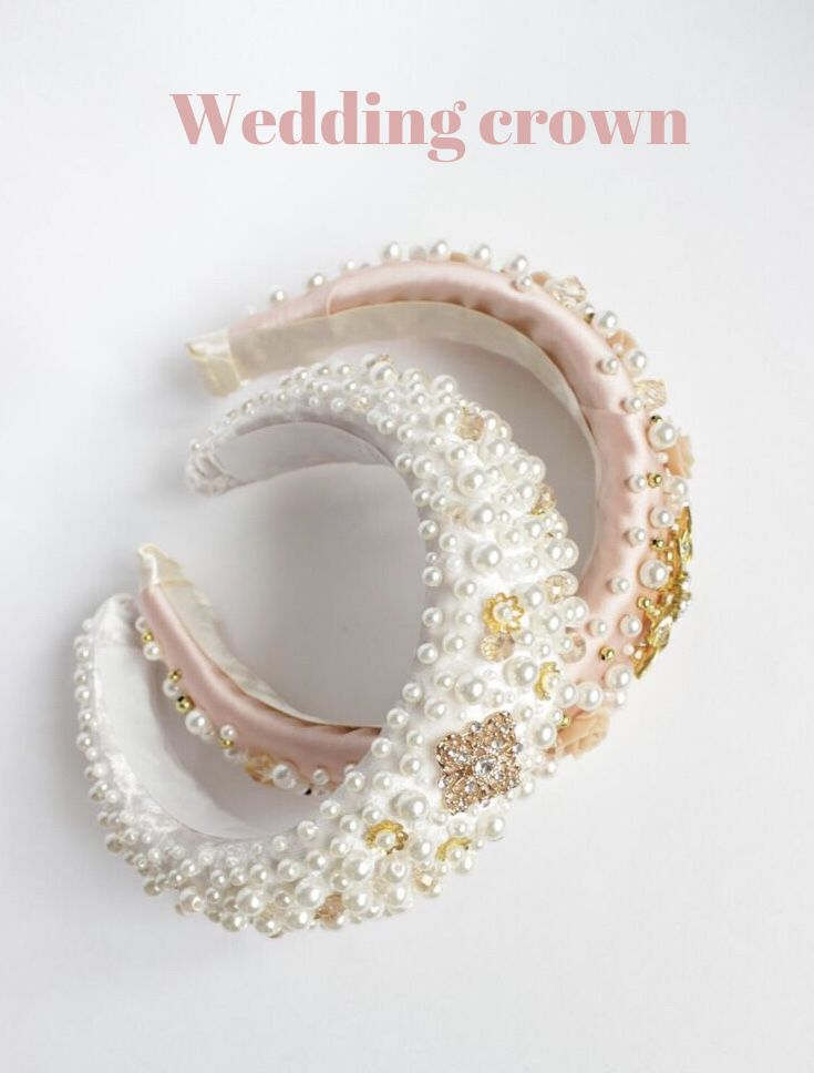 Bridal headpiece gold bridal headband Bridal pearl headband | Etsy #crownheadband