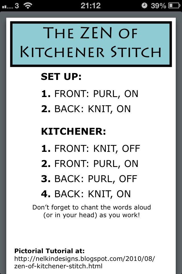 The Kitchener Stitch Knitting Tattoo Knitting Tutorial Knitting Techniques