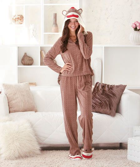 Women's Sock Monkey Loungewear Small 6/8 Med 10/12 Large 14/16 or XL 18/20 PJ's #Imported #PajamaTopsorBottoms