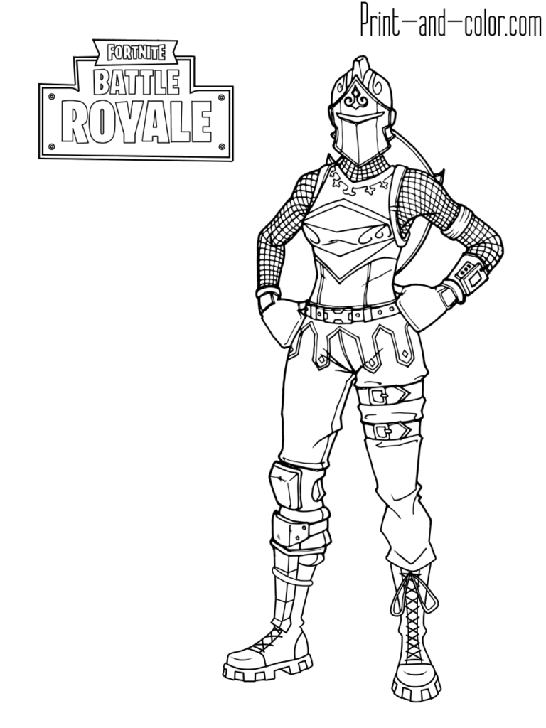 Fortnite battle royale coloring page red knight