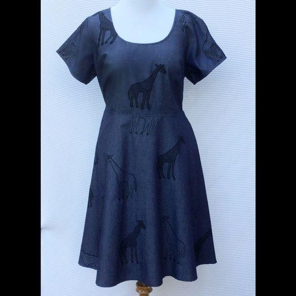 decdf346798 New Eshakti Giraffe Fit   Flare Dress 20W New Eshakti chambray giraffe fit    flare dress