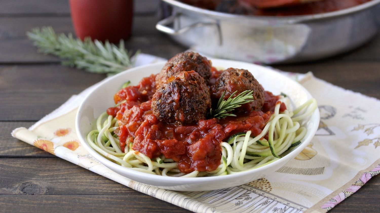Chia Meatballs with Zucchini Noodles