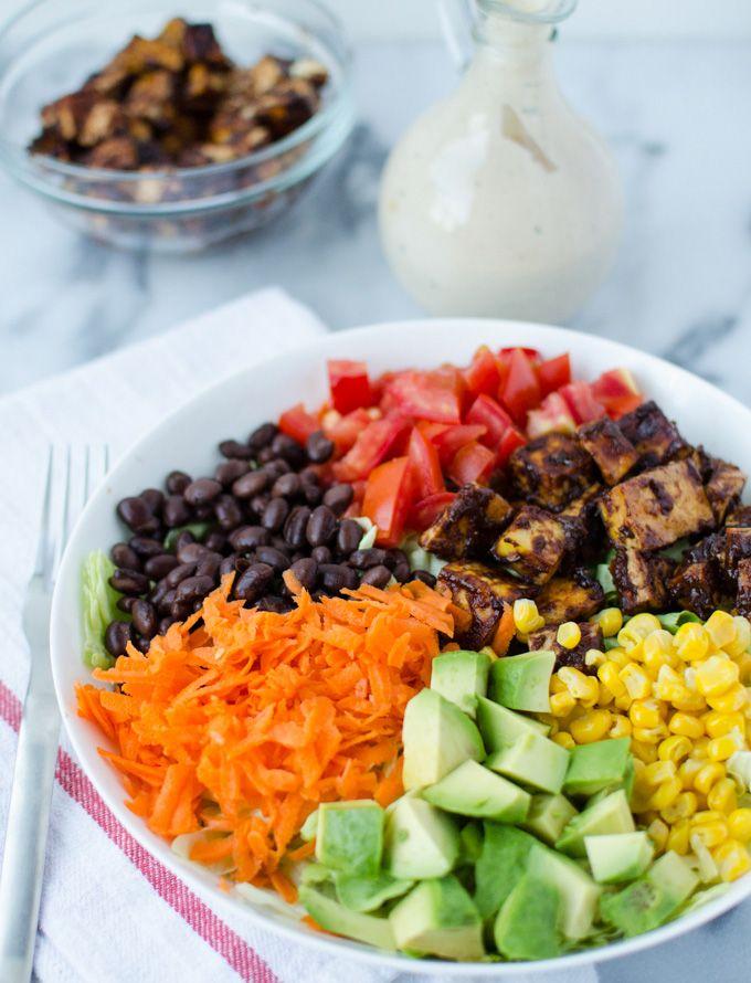 Copycat CPK Chopped BBQ Tofu Salad gluten free, vegan