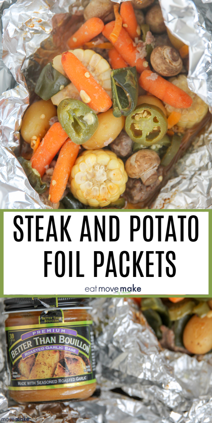 Loaded with chunks of perfectly marinated steak and lots of veggies, these steak and potato foil pack dinners are full of flavor and so easy to make on the grill. (ad) #BTBGrillingRecipe #grilling #foilpackmeals #foilpackdinners #IC