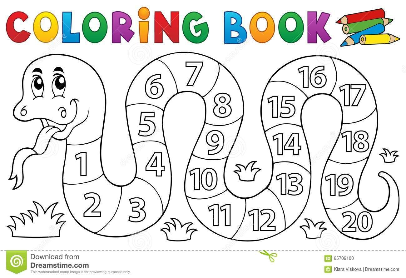Illustration About Coloring Book Snake With Numbers Theme