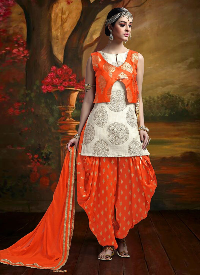 c2521ad395 Buy Beige N Orange Jacket Style Patiala Suit online from the wide  collection of patiala-