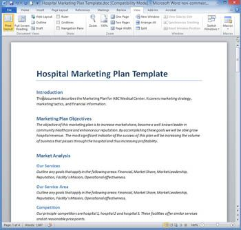 Hospital Marketing Plan Template  Marketing Plan Template