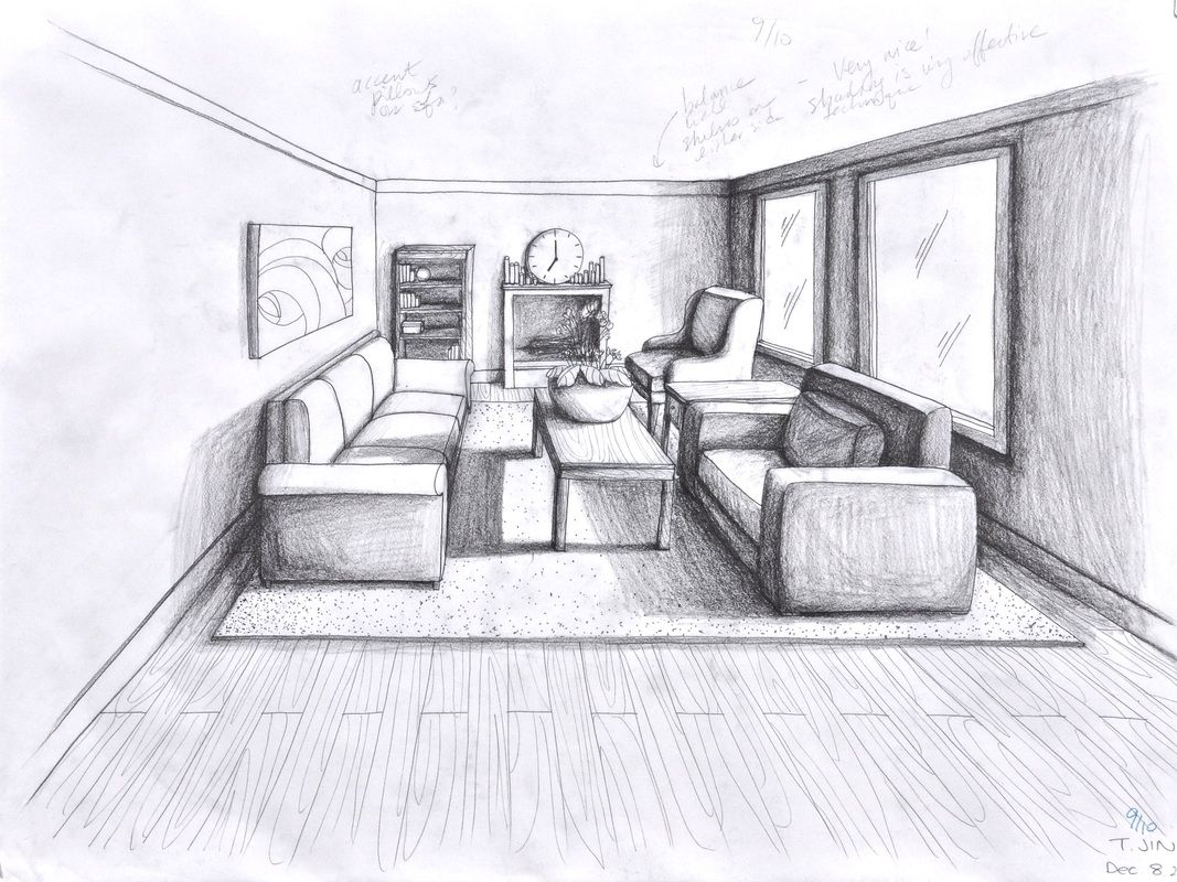 One point perspective living room drawing - 1 Point Perspective Room 05