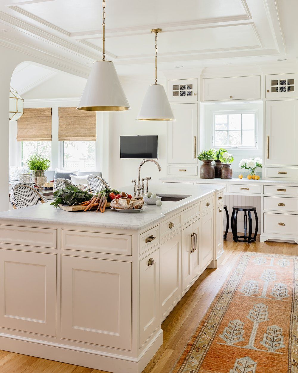 The Cape Cod Ranch Renovation Great Room Continued Kitchen: White Cabinets In This Kitchen With An Antique Turkish