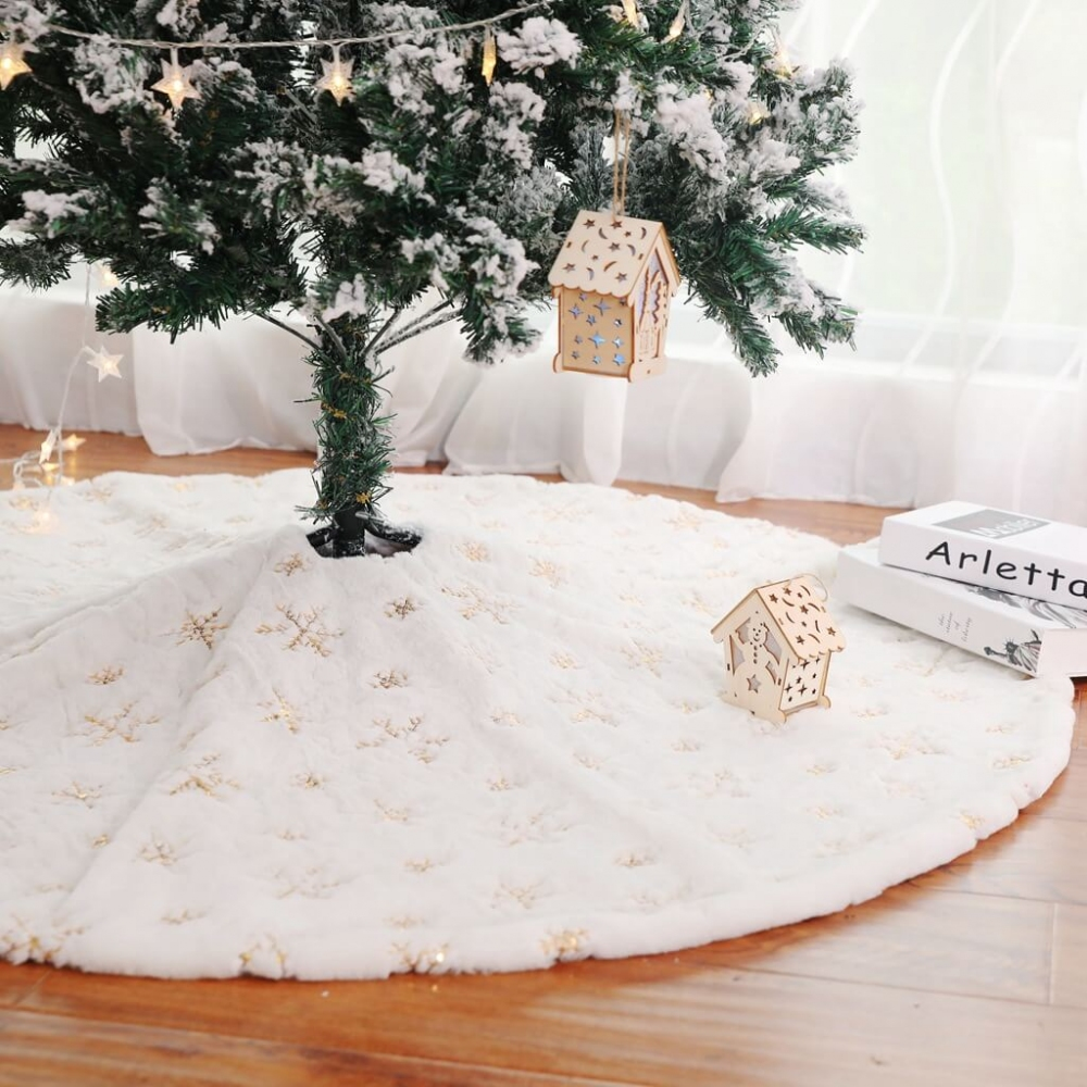 Christmas Tree Skirt Large Luxury Faux Fur Holiday