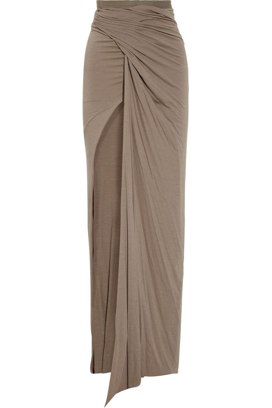 Rick Owens Lilies - Draped stretch-jersey maxi skirt
