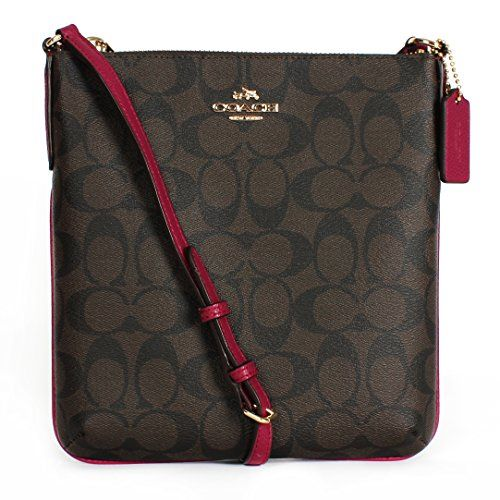 Coach CC Signature NS Cross Body File Shoulder Bag F35940 Brown/fuchsia. Signature coated canvas. Inside multifunction pocket. Zip-top closure, fabric lining. Strap with 22 drop for shoulder or crossbody wear. 8 (L) x 8 1/2 (H) x 1 1/4 (W).