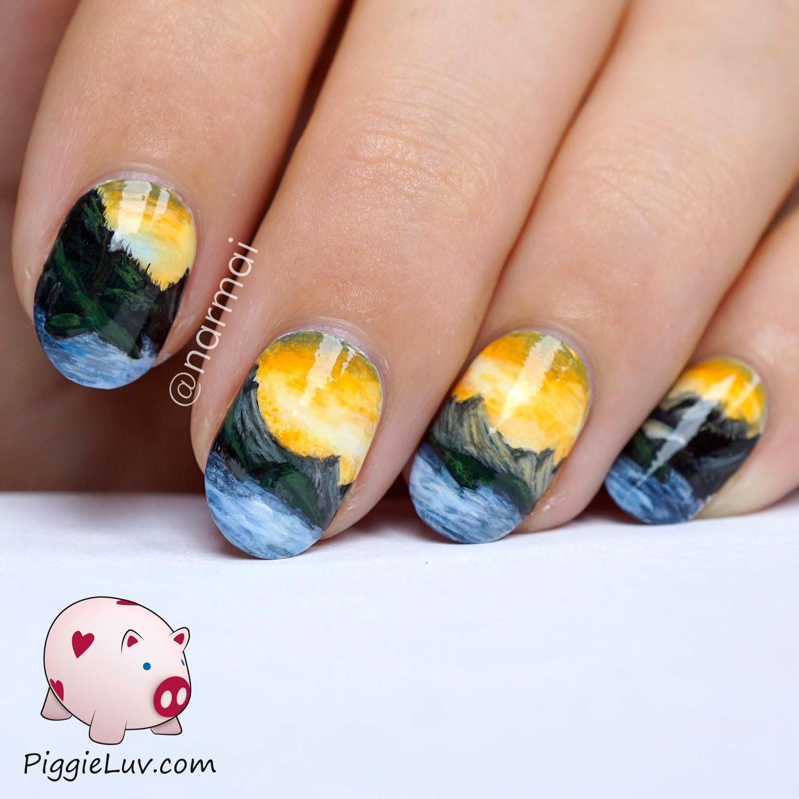 Freehand mountain landscape nail art mountain landscape and fun freehand mountain landscape nail art prinsesfo Image collections