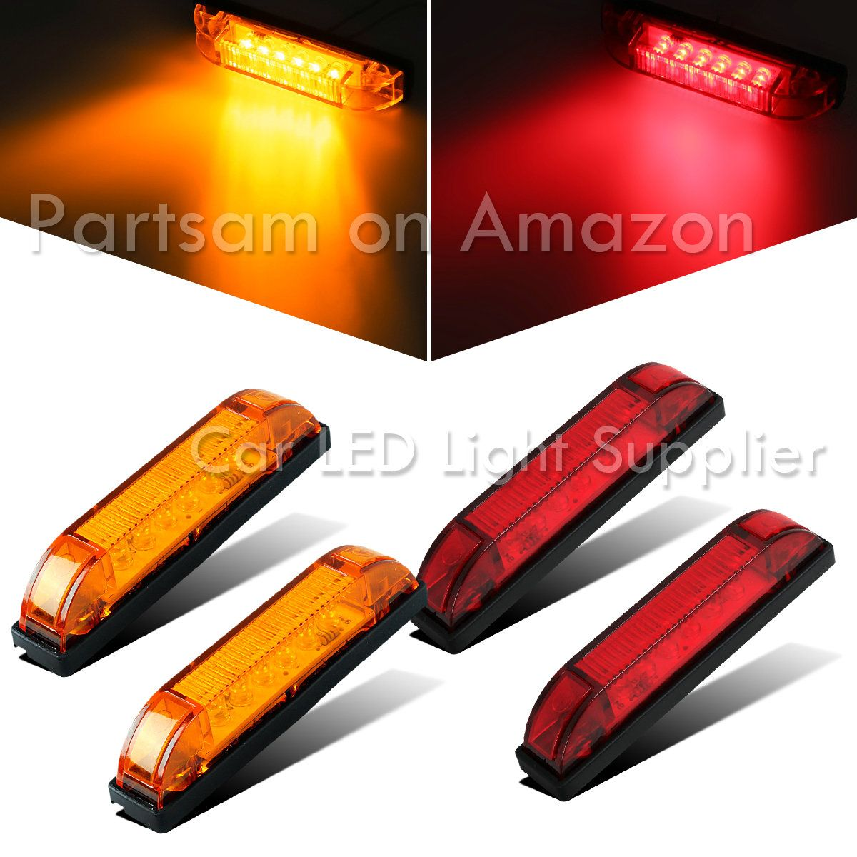 Partsam 4pcs Amber Underwater Boat Light 4 6led Utility Strip Light Sealed Side Marker Features Led Q Underwater Boat Lights Boat Lights Car Led Lights