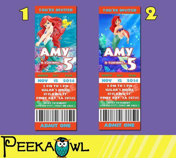 Printable Disney The Little Mermaid Invitation Ticket By