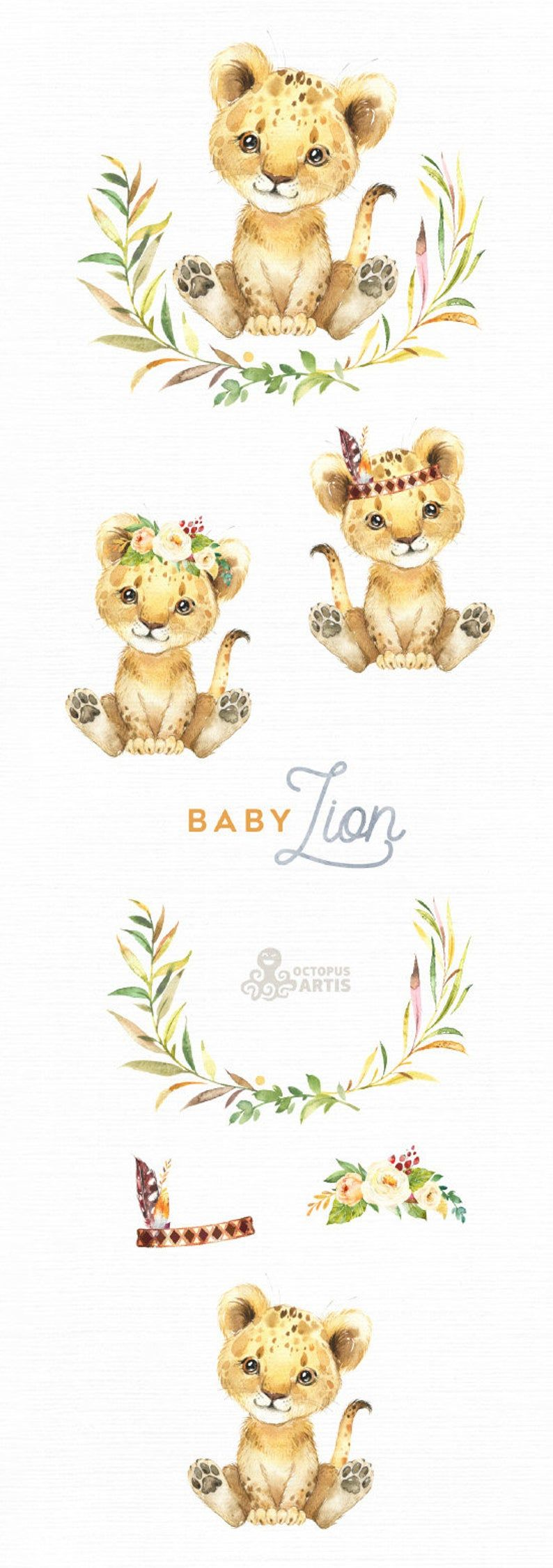 Baby Lion Watercolor Little Animal Clipart Babies Flowers Etsy In 2021 Baby Clip Art Baby Lion Animal Clipart