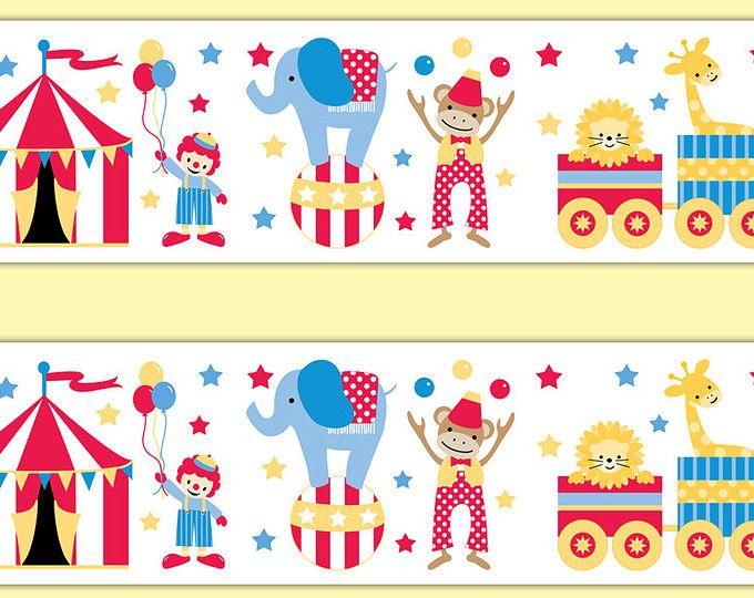 Circus Nursery Border Animals Decal Wallpaper Wall Art Safari Jungle Room Sticker Decor Baby Boy Neutral Shower Clown Decoration