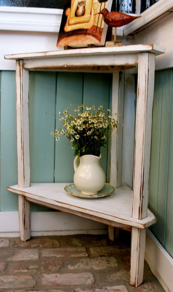 Beach Cottage Decor   Rustic Home   Wooden Corner Table   Accent    Decorative   Home Decor   Furniture   Wood   Handcrafted   Shabby